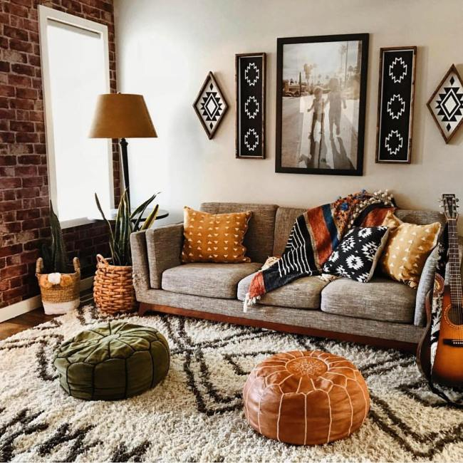 Apartment Decorating Ideas: No matter what kind of flooring you have – hardwood, tile, or carpet, a rug is an interesting way to add somedepth and character to a room. A lightly-colored rug will make a room feel larger. It can also protect your flooring from wear and tear. Be bold with patterns and colors - they're easy to switch up at any time!