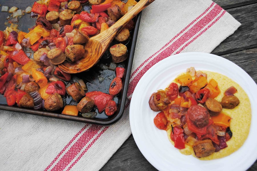 Sheet Pan Sausage & Peppers Over Cheesy Polenta