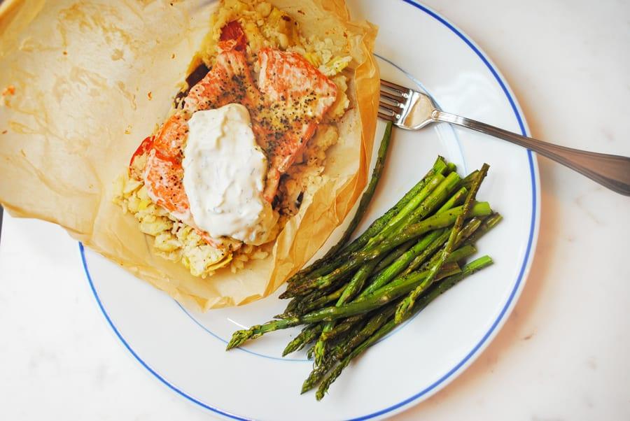 Salmon in Parchment with Greek Cauliflower Rice