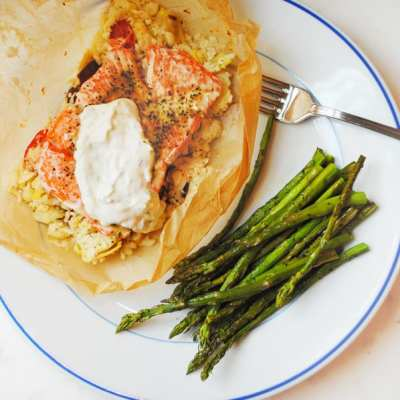 Salmon in Parchment with Greek Cauliflower Rice