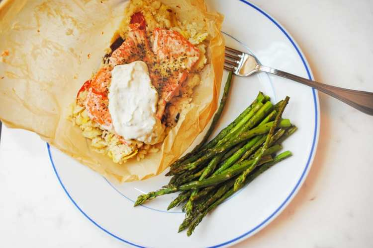 Salmon in Parchment with Greek cauliflower rice.