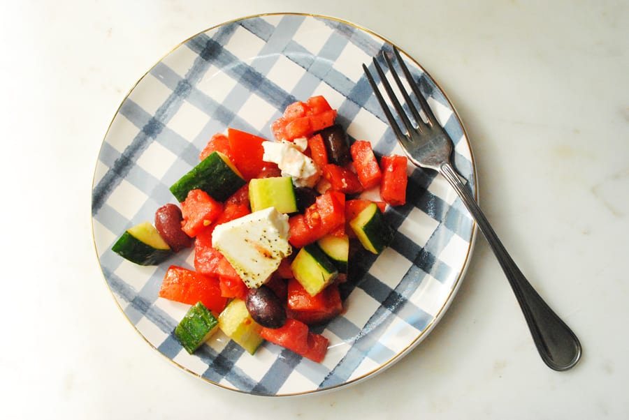 Traditional Greek Salad on a plate