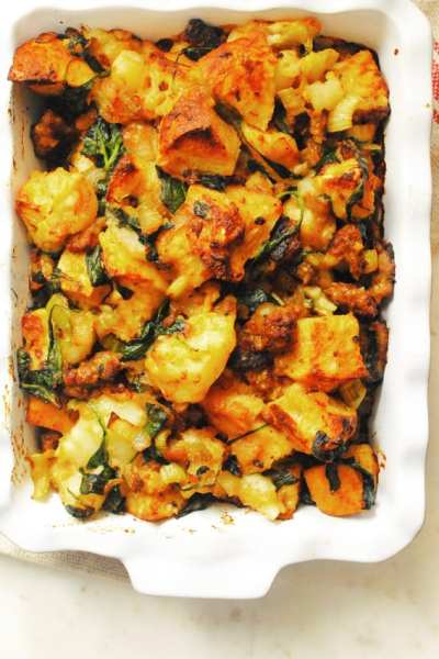 My Grandmother's Sausage Potato and Bread Stuffing