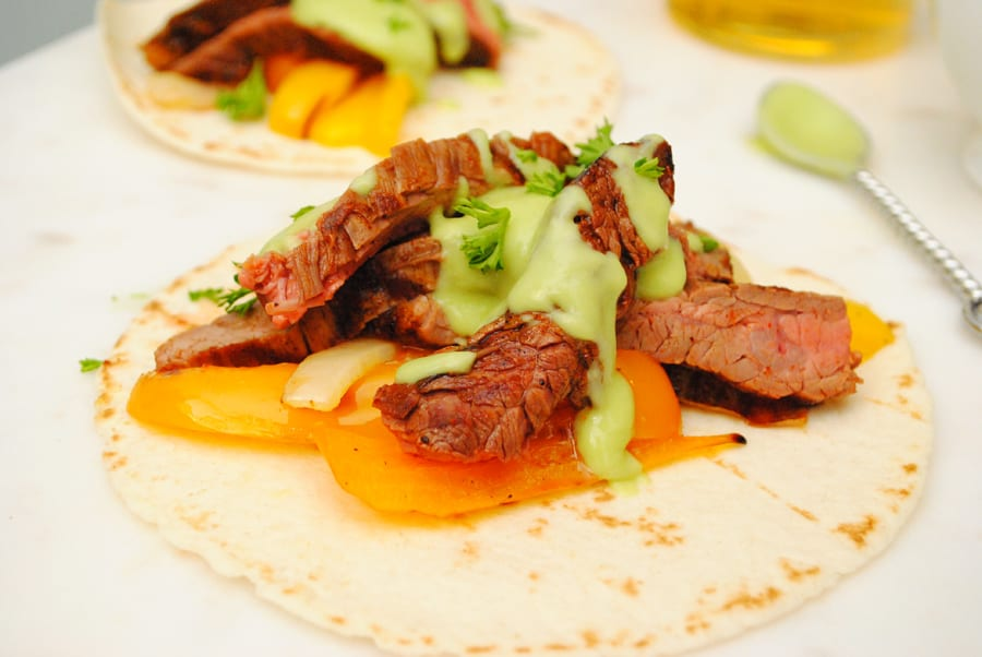 Flank Steak Fajitas with Spicy Avocado Cream