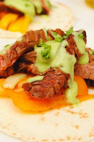 Flank Steak Fajitas with Spicy Avocado Cream