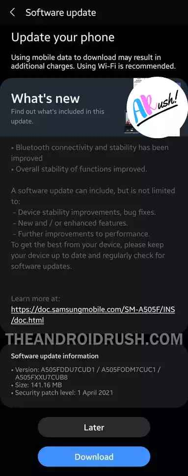 Samsung Galaxy A50 April 2021 Security Update Screenshot - The Android Rush