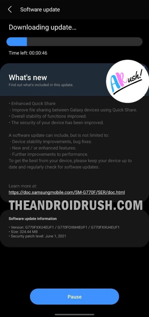 Samsung Galaxy S10 Lite June 2021 Security Update Screenshot - The Android Rush