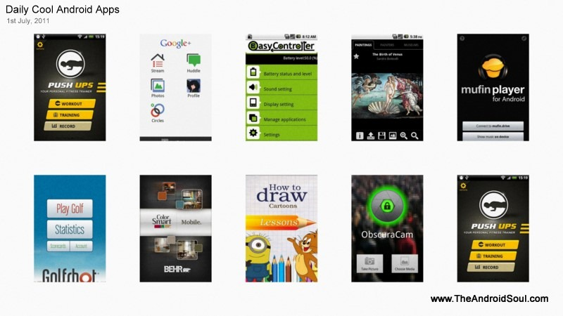 New  Top  Cool  Best Android Apps 1st July 2011
