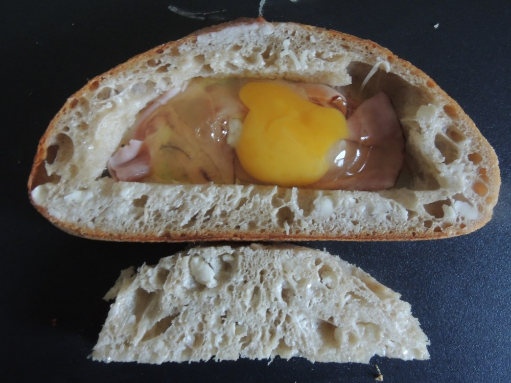 Egg ham and cheese inside of bread