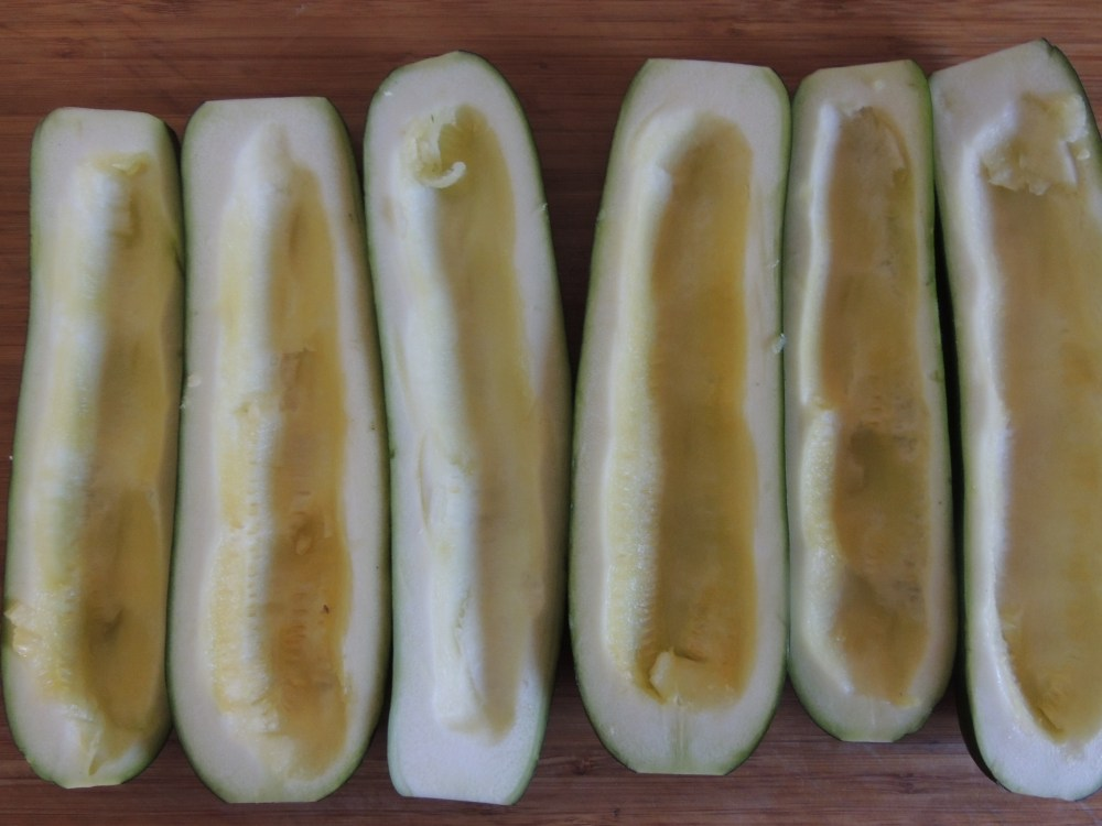 Hollowed out zucchini boats