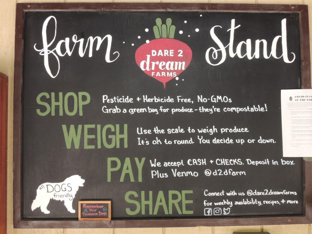 Dare 2 dream farm stand sign