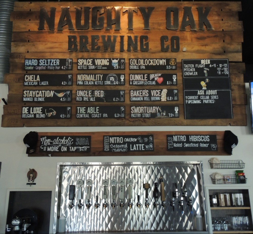 Beer selection at Naughty Oak Brewery