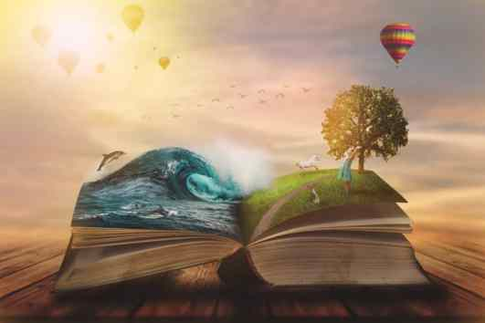 Concept,Of,An,Open,Magic,Book;,Open,Pages,With,Water