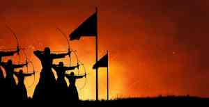 Abstract fantasy silhouette design art of group of ancient warriors firing arrows with bows at the battlefield with fire blast battle in the background