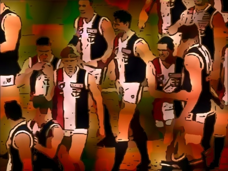 The Saints celebrate their securing of the 1997 Minor Premiership against Port Adelaide. One of The Animal Enclosure's Top Five Saints wins at Football Park.