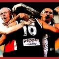 Zak Jones Ben Long Paddy Ryder embrace during St Kilda v Essendon Rd 12, 2020. The Animal Enclosure Saints Summary Rd 12 v Essendon