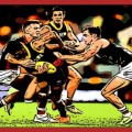 Dougal Howard and Ben Paton collar Charlie Cameron in one of The Animal Enclosure Tough As Moments from the Round 13 2020 clash between St Kilda and Brisbane
