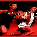 Dan Butler evades an opponent in the Round 14, 2020 match between St Kilda and Melbourne in Alice Springs. One of the Animal Enclosure Magic Moments.