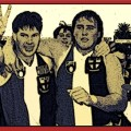 St Kilda Captain and Vice Captain, Danny Frawley and Tony Lockett, leave Princes Park after their teams victory over Hawthorn in Round 11 of the 1991 AFL Season.