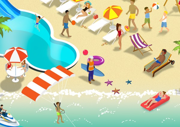 Example of BHP Shareplus campaign with illustrations of leisure activity