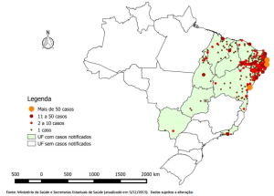 Map showing the concentration of suspected Zika-related cases of microcephaly in Brazil.