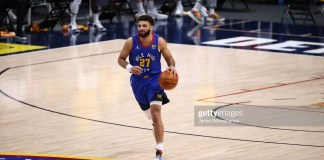 Basketball: Denver Nuggets Jamal Murray (27) in action vs Los Angeles Lakers at Ball Arena. Denver, CO 2/14/2021CREDIT: Jamie Schwaberow (Photo by Jamie Schwaberow/Sports Illustrated via Getty Images)(Set Number: X163529 TK1)