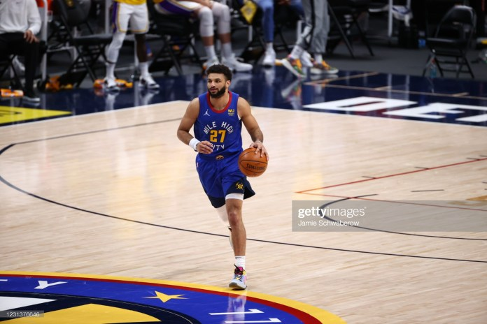 Basketball: Denver Nuggets Jamal Murray (27) in action vs Los Angeles Lakers at Ball Arena.  Denver, CO 2/14/2021 CREDIT: Jamie Schwaberow (Photo by Jamie Schwaberow/Sports Illustrated via Getty Images) (Set Number: X163529 TK1)