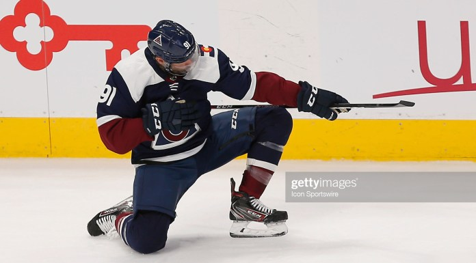 DENVER, CO - JANUARY 02:  Colorado Avalanche Center Nazem Kadri (91) celebrates a third period goal during a regular season game between the Colorado Avalanche and the visiting St. Louis Blues on January 2, 2020 at the Pepsi Center in Denver, CO. (Photo by Russell Lansford/Icon Sportswire via Getty Images)