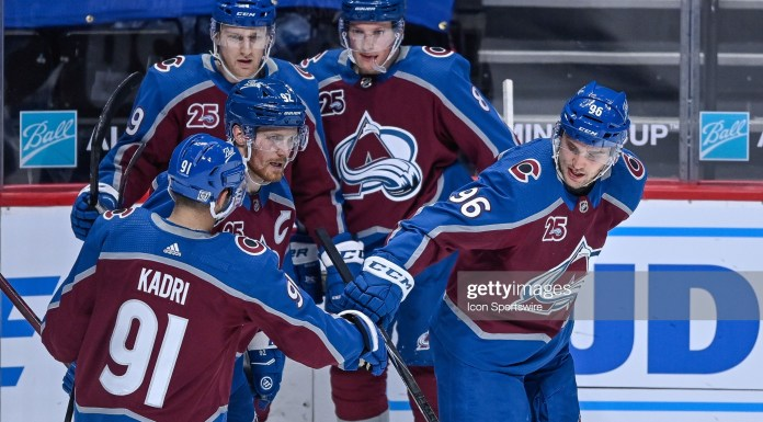 DENVER, CO - JANUARY 26: Colorado Avalanche right wing Mikko Rantanen (96) is congratulated by teammates center Nazem Kadri (91), center Nathan MacKinnon (29), left wing Gabriel Landeskog (92), and defenseman Cale Makar (8) after scoring a first period goal during a game between the San Jose Sharks and the Colorado Avalanche at Ball Arena in Denver, Colorado on January 26, 2021. (Photo by Dustin Bradford/Icon Sportswire via Getty Images)