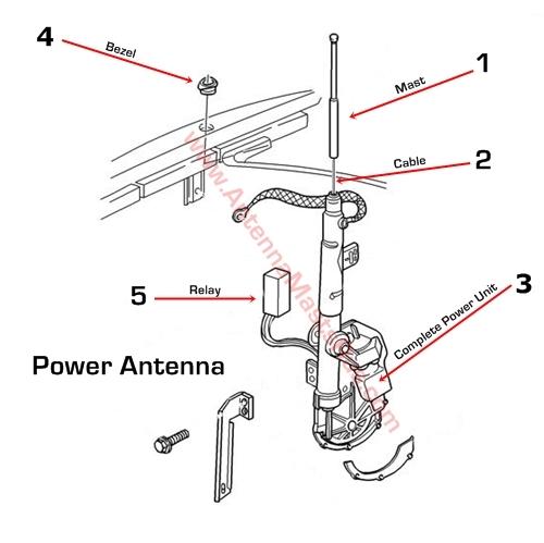 1998-1999 Cadillac Deville Antenna Mast Parts