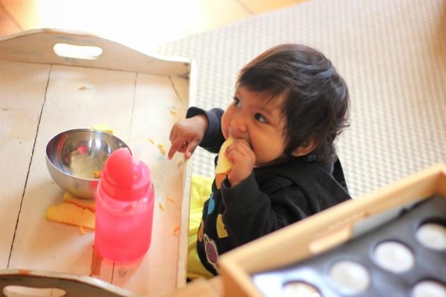 Amsterdam 2014. Asha eating breakfast