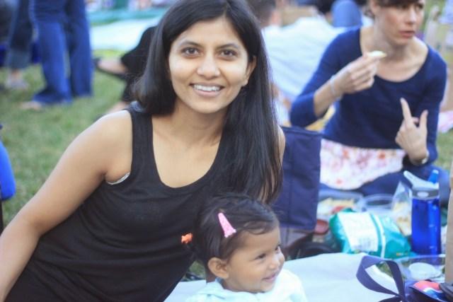 Chika and Asha in Millennium Park. Picnic.