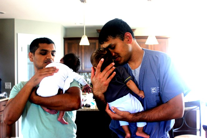 Devang and Gaurang with their two boys