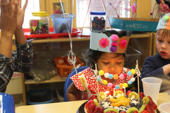 Asha's third birthday celebrations at her school in Raleigh, NC