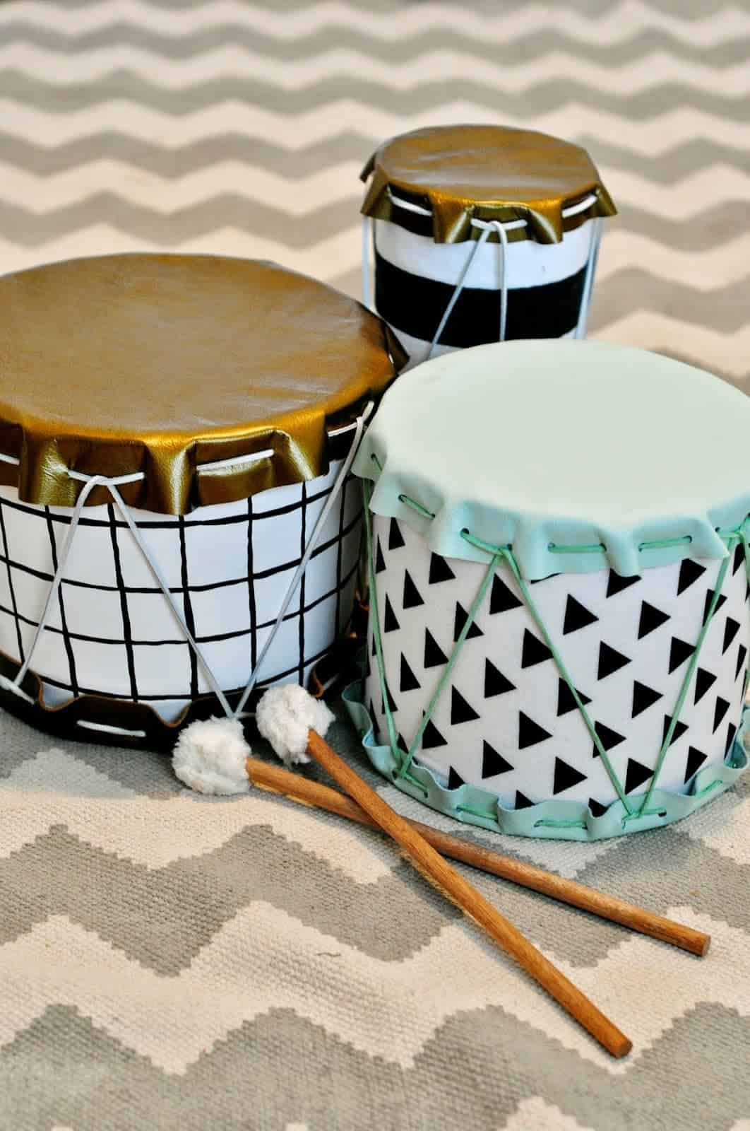 Toddler Crafts & Activities Roundup - popcorn tin or oatmeal container drum