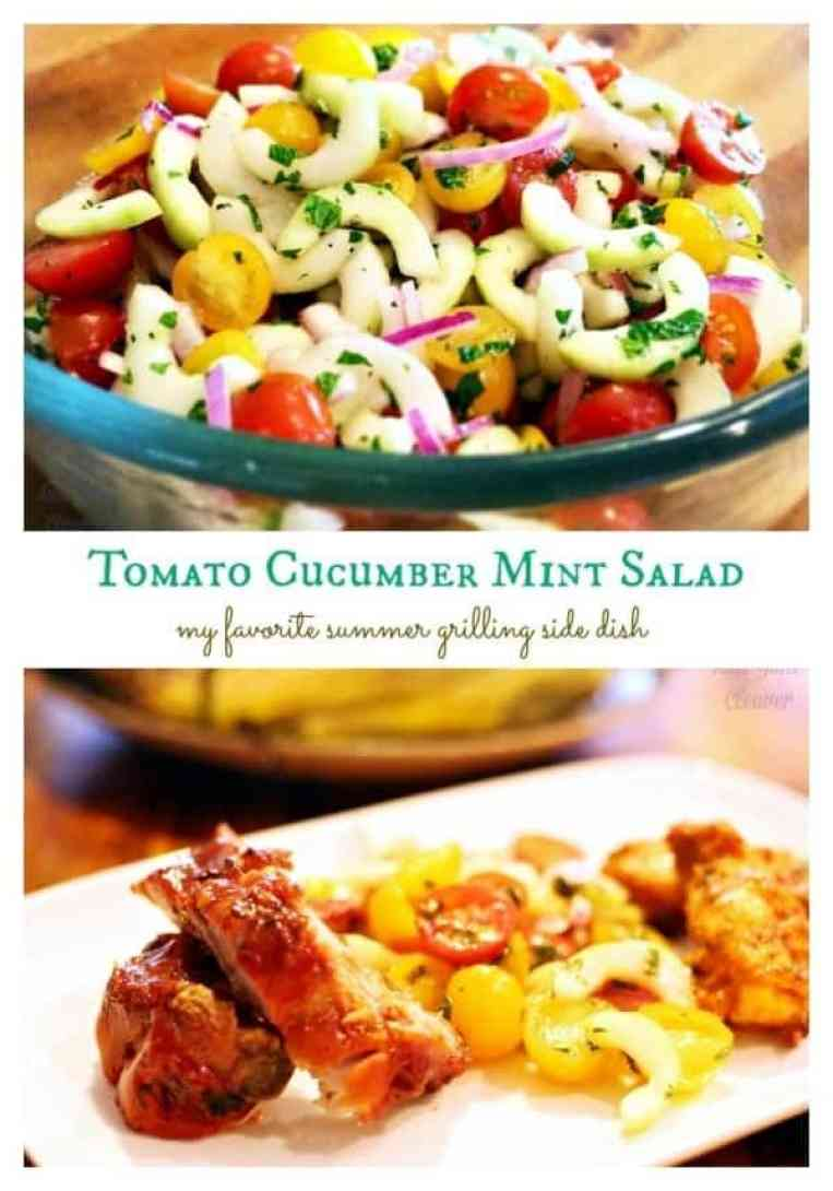 Cucumber Tomato Mint salad - my favorite summer grilling side dish recipe #ArtofGrilling AD