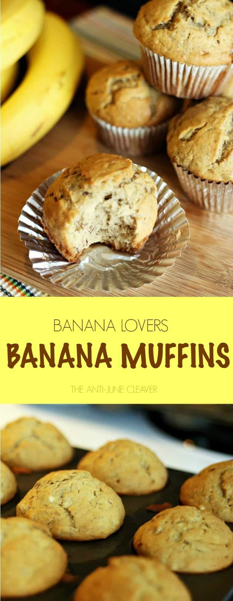 If you love bananas, you will love these banana muffins. Made with almost 3 cups of bananas, these moist and chewy muffins (or banana bread) are moist, delicious perfection.