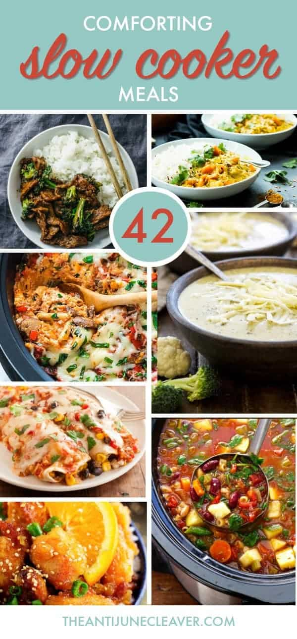 42 Comforting Slow Cooker Meals - Pasta Recipes #crockpot #slowcooker #pasta #crockpotpasta #crockpotmeals #slowcookermeals