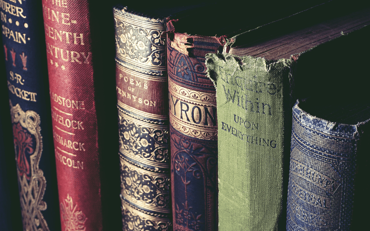 Vintage books add a friendly lived-in appeal to your cottagecore apartment style