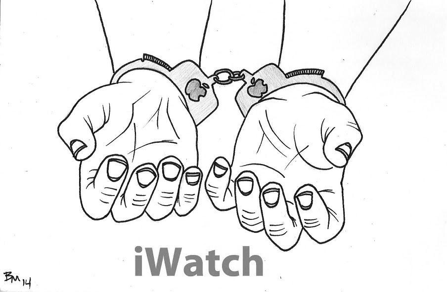 Editorial cartoon: iWatch introduced by Apple