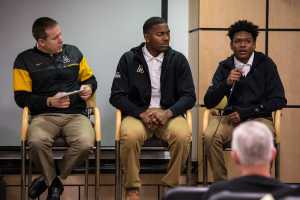 Football recruit D'Andre Hicks discusses what attracted him to Appalachian State, as well as what qualities he brings to the football program. Photo by: Chris Deverell, Photographer