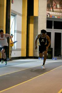 Jabari Johnson racing in the 55 meter preliminaries at the App State Indoor meet in January