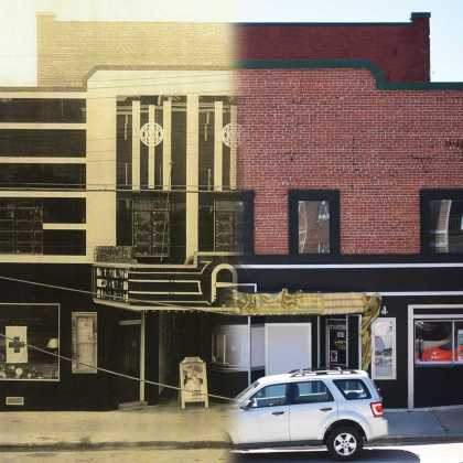 Theater facade in 1938 compared with today's. Images courtesy of the Sams family and the Appalachian Theatre of the High Country.
