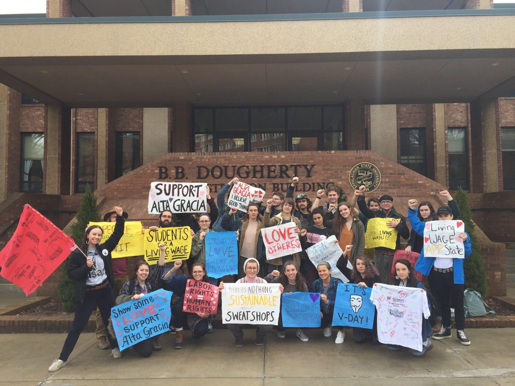 united students against sweatshops promotes living wage clothing in the bookstore the appalachian online
