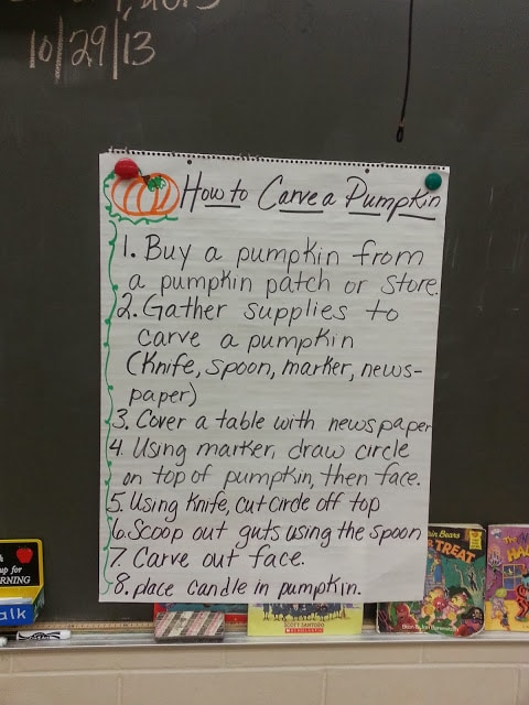 How to Carve a Pumpkin- Step by step anchor chart. Use for an expository writing lesson.