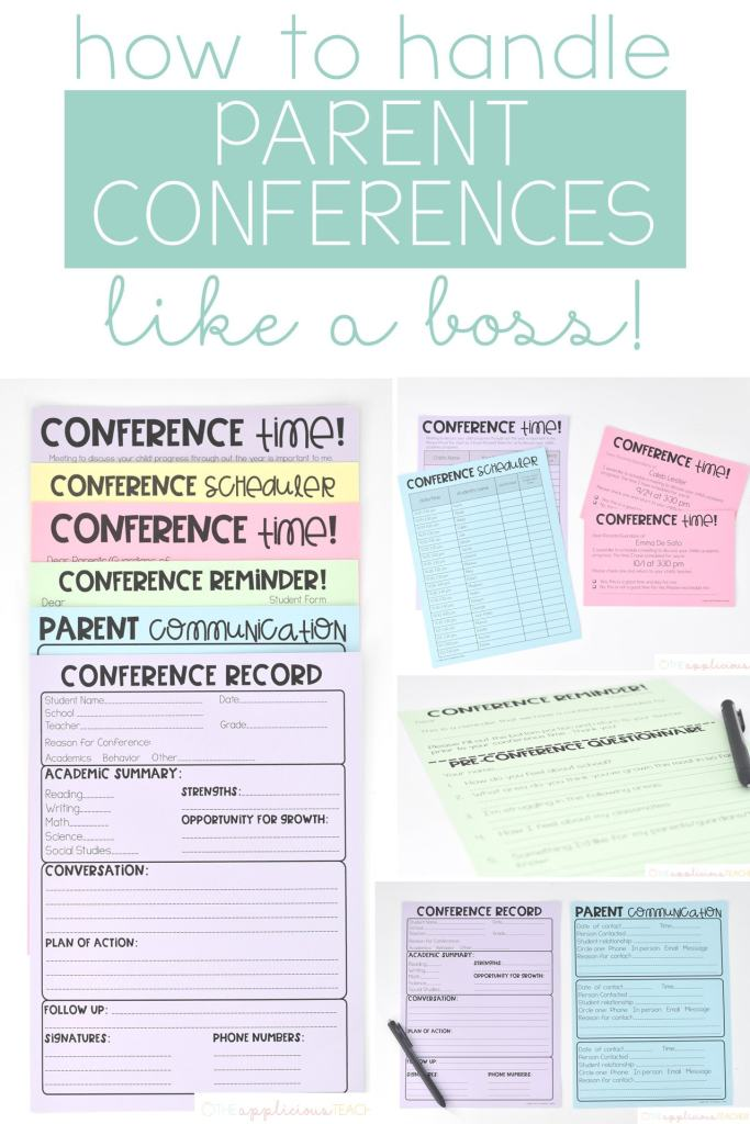 The No-Stress Parent Teacher Conference routine! Love the steps this teacher shares of her no fuss parent conference routine! TheAppliciousTeacher.com #parentconferences #parentteacherconferences