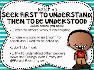 The Leader in Me Seek first to Understand, then be understood
