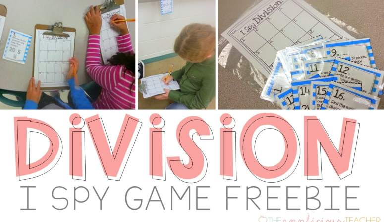 I Spy Division Freebie Activity-Love this idea for a quick way to practice division! Theappliciousteacher.com