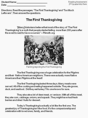 The First Thanksgiving And Turkey Writing The Applicious Teacher