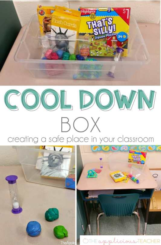 Cool Down box- setting up a safe place in your classroom- TheAppliciousTeacher.com